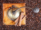 Retro manual coffee mill on roasted beans — Stock Photo