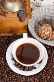 Cup of coffee and roasted beans — Stok fotoğraf