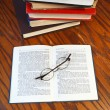 Open book on wooden table — Stock Photo #37712251