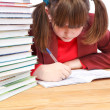 Schoolgirl, schoolwork and stack of books — Stock Photo #37712337