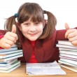 Schoolgirl, schoolwork and stack of books — Stock Photo #37712355