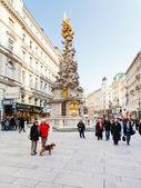 Plague column on Graben historical street Vienna — Stock Photo