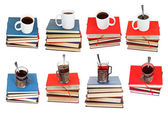 Set from stacks of books with coffee or tea on top — Stock Photo