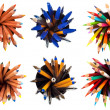 Stock Photo: Set of top view pens and pencils