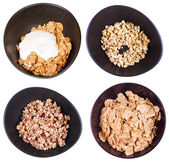 Set of top view cereal in dark bowl — Stock Photo