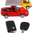 Stock Photo: Two vehicle keys and model truck and car
