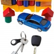 Door, vehicle keys, blue car model and block house — Stock Photo