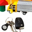 Stock Photo: Door, vehicle keys, truck model and block house