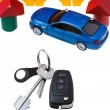 Door, vehicle keys, blue car model and block house — Stock Photo #38624683