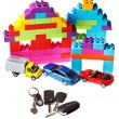 Keys, model car, plastic block house — Stock Photo #38624695