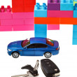 Keys, model car, plastic block house — Stock Photo #38624715