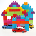 Model car, plastic block house — Stock Photo #38624751