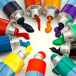 Stock Photo: Multicolored tubes with squeezed watercolors