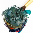 Stock Photo: Paintbrush blends multicolored watercolors