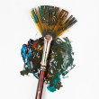 Stock Photo: Fpaintbrush blends multicolored watercolors