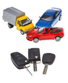 Three vehicle keys and model cars — Zdjęcie stockowe