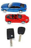 Top view two vehicle keys and model cars — Stok fotoğraf