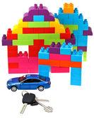 钥匙、 汽车模型、 塑料块的房子 — 图库照片
