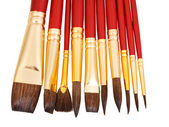 Set of new paintbrushes close up — Stock fotografie