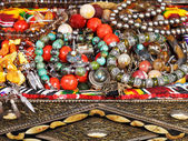 Antique jewelry in ancient treasure chest — Stock Photo