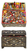 Set of ancient decorated treasure chests — Stock Photo