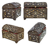 Set of ancient bronze treasure chests — Stock Photo