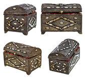 Set of ancient bronze treasure chests — Stock Photo