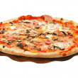 Italian pizza with mushrooms and ham on wood board — Stock Photo #39046269