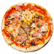 Top view of italian pizza with mushrooms and ham — Stock Photo