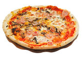 Italian pizza with mushrooms and prosciutto — Stok fotoğraf