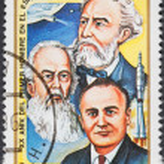 Постер, плакат: Scientists Korolev Tsiolkovsky Zhukovsky
