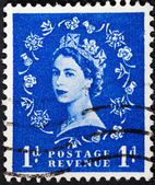 Queen Elizabeth by Dorothy Wilding on blue — Stock Photo