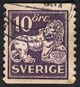 Symbol of swedish monarchy lion — Stock Photo