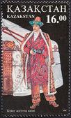 Kazakh man in national dress near nomad jurt — Stock Photo