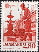 Street cleaner on Amager Square of Copenhagen — Stock Photo