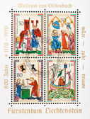 Pictures from medieval manuscript Manesse Codex — Stock Photo