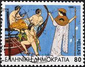 Hero Jason and his band Argonauts and Athena — Stock Photo