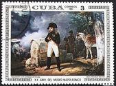 Napoleone con sfondo di paesaggio di guerra — Foto Stock