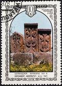 Khachkar Armenian cross-stones in Tsaghkadzor — Stock Photo