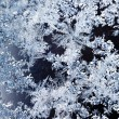 Snowflakes and frost pattern on glass close up — Stock Photo