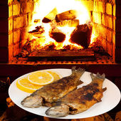Fried river trout fish on plate and fire in oven — Stock Photo