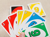Uno card game played with specially printed deck — Stock Photo