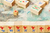 Wooden tiles close up in mahjong game — Stock Photo