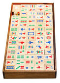 Above view of wood mahjong game tiles in box — Stock Photo