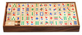 Mahjong game tiles in box isolated on white — Stock Photo