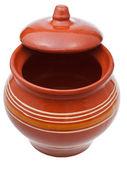 Earthenware pot with half-open lid — Stock Photo