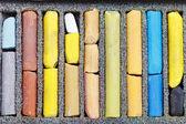 Gebrauchte künstlerische trocken pastell hautnah — Stockfoto