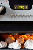 Cooking of sweet dessert meringue in oven — Stock Photo