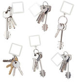 Set of bunch of home keys with blank keychain — Stock Photo