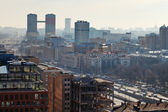 Leningradsky prospekt in Moscow in day with smog — Stock Photo